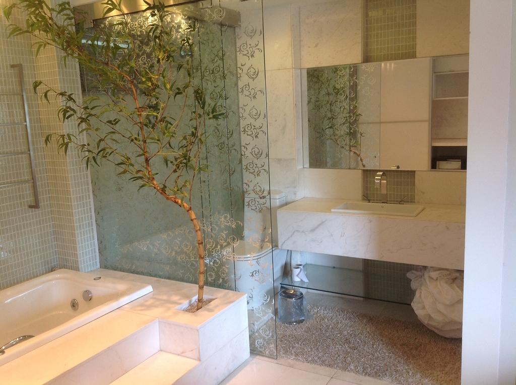 Vista banheira e banheiro